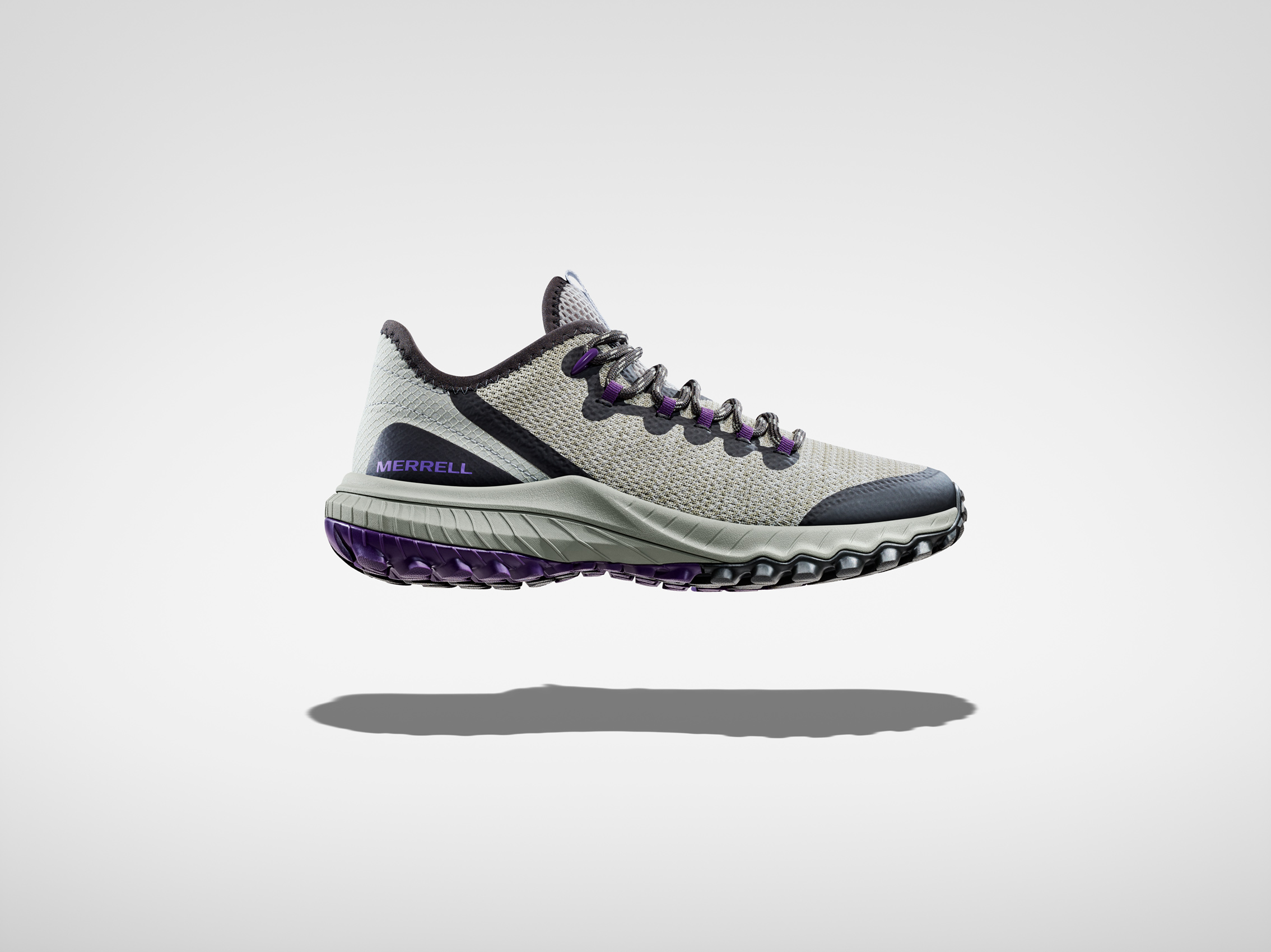 Merrell  Sniker shoe profile floating on white surface