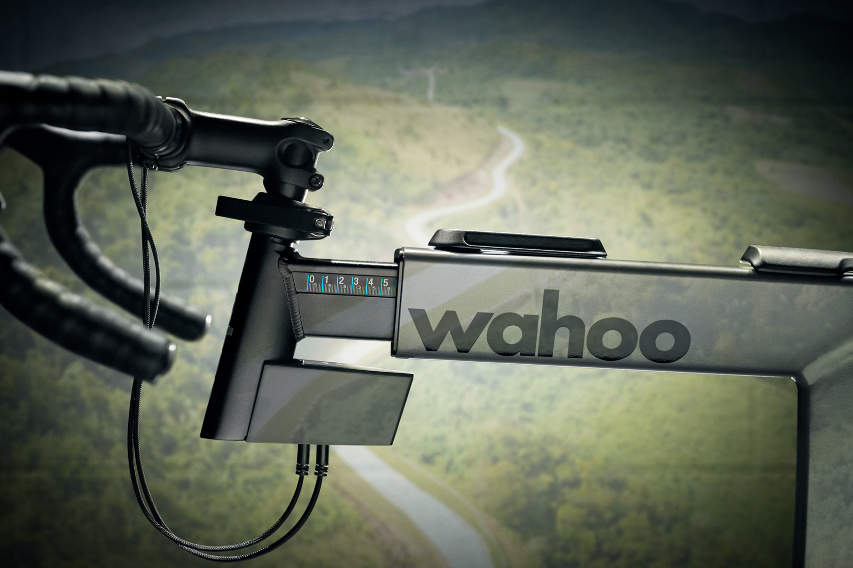 Wahoo KICKR BIKE stem with projection composited over scene